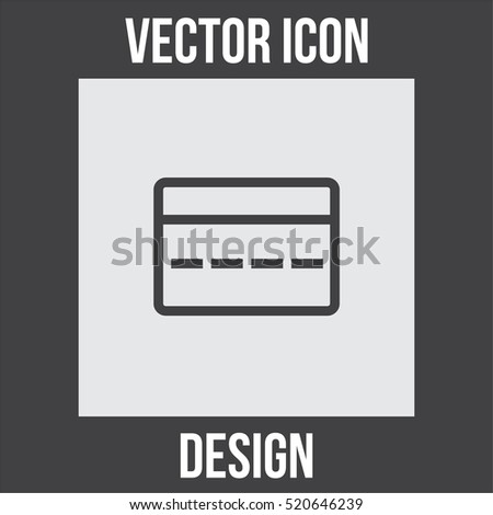 Credit card sign line vector icon. Electronic money sign. On line payment symbol. Financial sign.