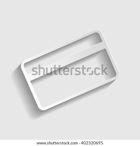 Credit card symbol for download. Paper style icon with shadow on gray.