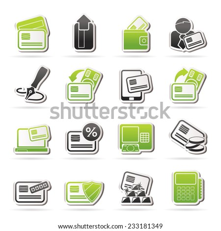credit card, terminal and ATM icons - vector icon set - stock vector