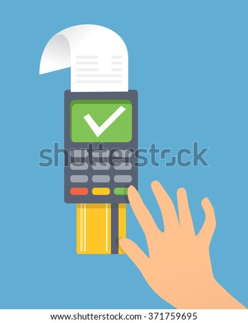 Credit card terminal . Man is confirming payment on card terminal. Vector created illustration of paying, sending money, confirming payment.  - stock vector