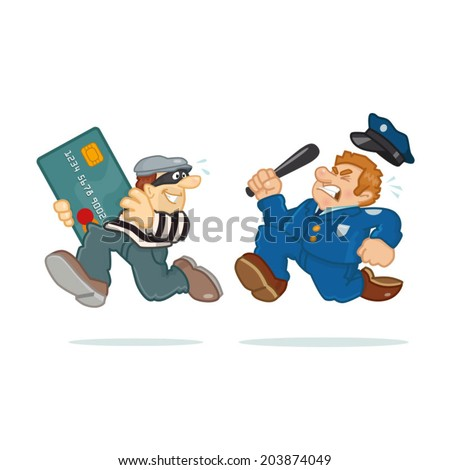 Credit Card Thief Police man chasing thief carrying stolen credit card. - stock vector