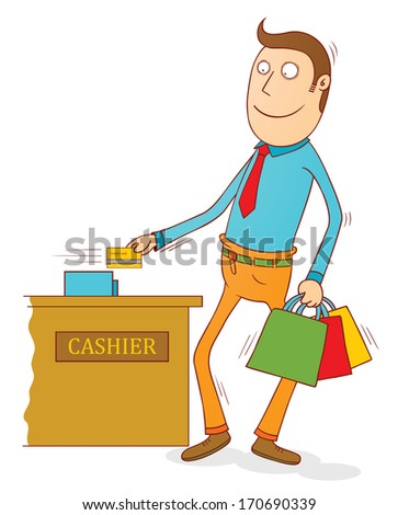 credit card user - stock vector