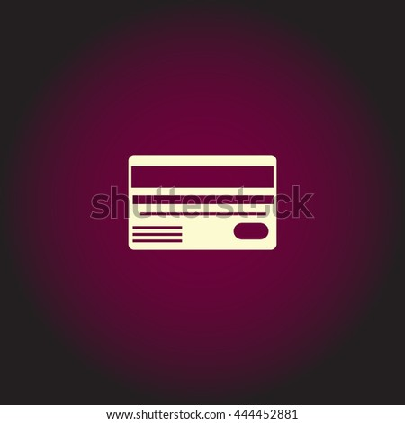 Credit card. White vector icon on dark background. Flat pictogram - stock vector