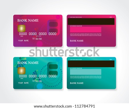 Credit card with design - stock vector