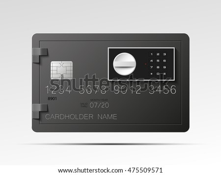 Credit card with Electronic lock picture. Bank card with image combination lock on front side. Plastic card with steel safe. Debit card with electromagnetic locking devices chip. Vector illustration