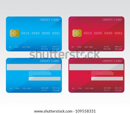 Credit cards blue and red - stock vector