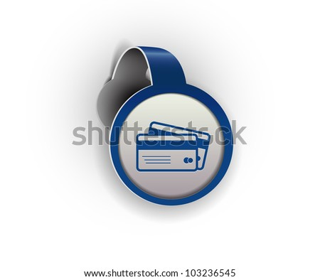 credit cards hanging sticker icon, vector - stock vector