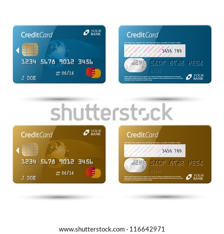 Credit cards, isolated, vector - stock vector