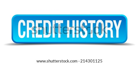 credit history blue 3d realistic square isolated button