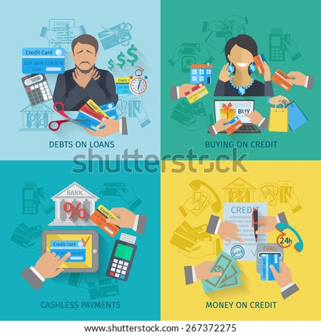 Credit life design concept set with debts on loans cashless payments flat icons isolated vector illustration - stock vector