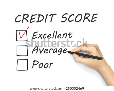 credit score survey written by hand on white background - stock vector