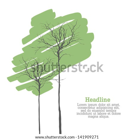Creen Trees On White With Space For Text. Vector - stock vector