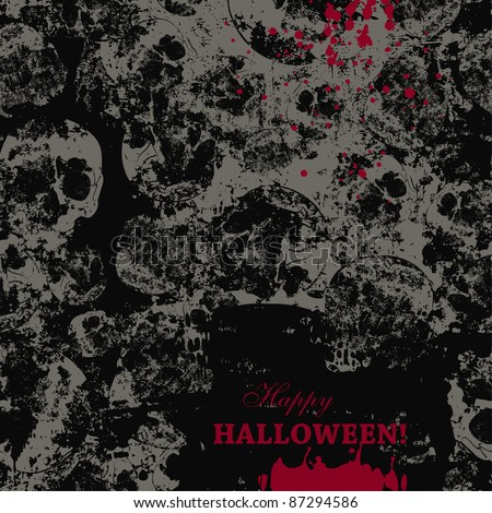 creepy halloween card over seamless pattern with faded skulls - stock vector