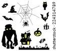 creepy halloween elements silhouette vector - stock vector