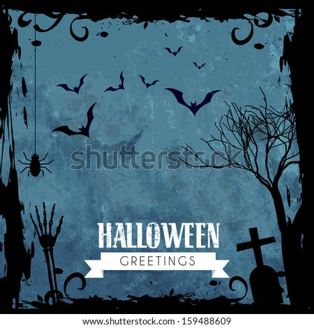 creepy halloween greeting design with space for your text