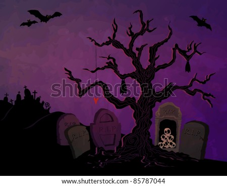 Creepy Halloween Greeting, with gnarly tree, tombstones, skulls and graveyard in the distance - stock vector