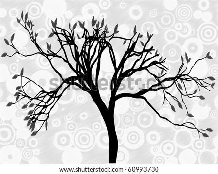 Creepy silhouetted tree surrounded by gray circle abstract sky editable vector illustration - stock vector