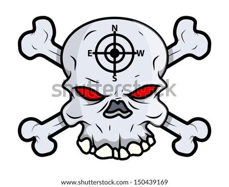 Creepy Skull Vector - stock vector