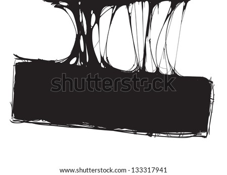 creepy slime halloween signboard. black and white detailed vector illustration - stock vector