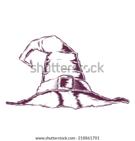 Creepy witch hat isolated on a white background. Line art. Halloween retro design. Vector illustration. - stock vector