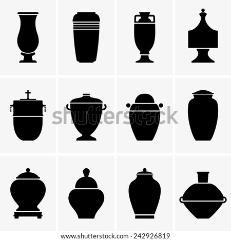 Cremation urns - stock vector