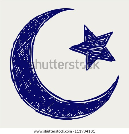 Crescent Islamic symbol. Doodle style - stock vector