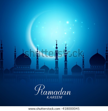 Crescent Moon and Silhouette Mosque in the Bright Night for Ramadan Kareem Background. Vector Illustration  - stock vector