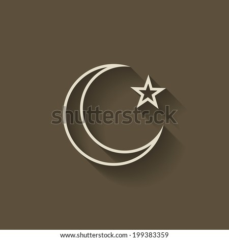 crescent moon and star - stock vector
