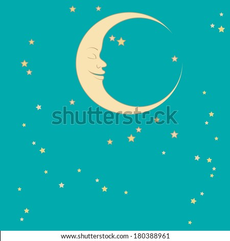 crescent moon and stars around him sleep