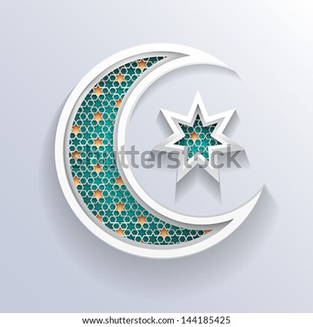 crescent moon holiday symbol - stock vector