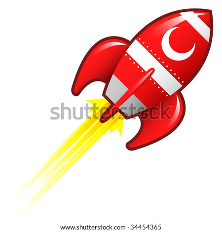 Crescent moon icon on red retro rocket ship illustration