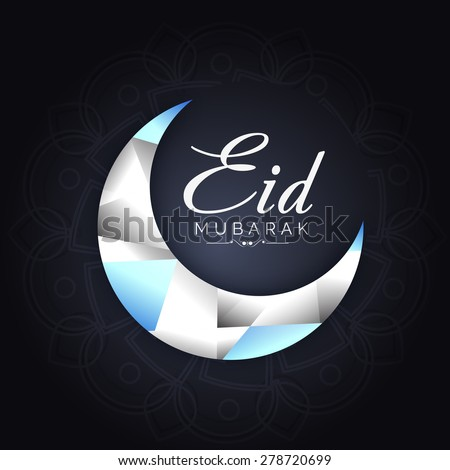 Crescent moon on shiny background for muslim community festival Eid Mubarak - stock vector