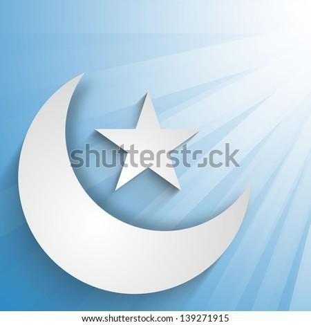 Crescent Moon with star on rays background, concept for Muslim community holy month Ramadan or Ramazan.