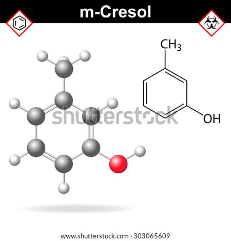 Cresol molecule - structural chemical formula and model of meta-cresol, 2d and 3d isolated on white background, vector, eps 8 - stock vector