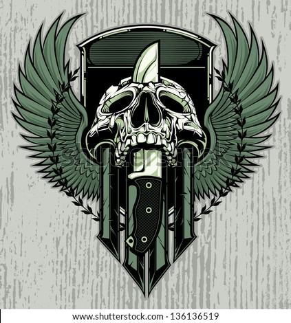 Crest design with skull slain by a combat knife through it's head. Crest includes blank area for copy. - stock vector