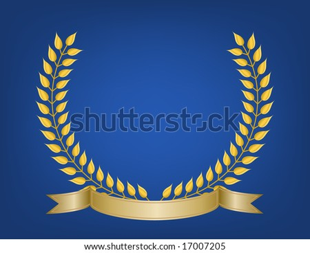 Crest emblem made of detailed gold leaf branches and blank ribbon banner on soft glow royal blue background.