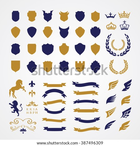 Crests logo element set.Heraldic logo,shield logo element,vintage laurel wreaths, heraldic icons - stock vector