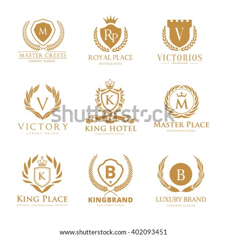 Crests logo set, Luxury logo brand with boutique style and royal concept   - stock vector