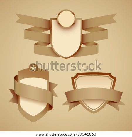 Crests with banners. Vector. No mesh. - stock vector