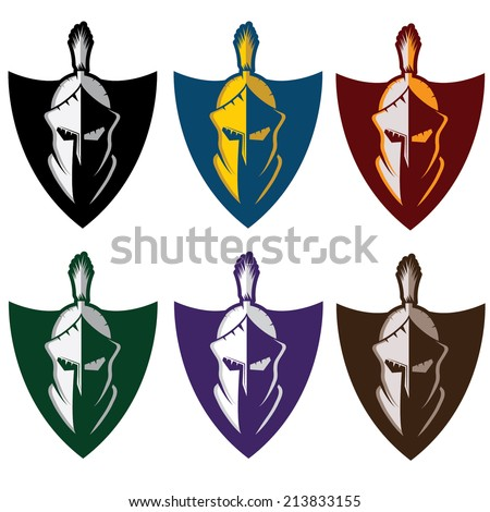 crests with spartan warrior - stock vector