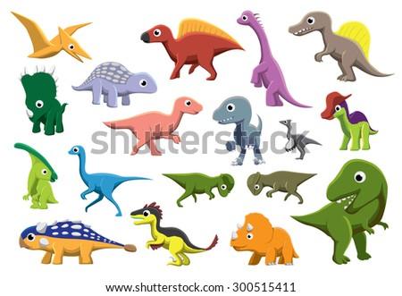 Cretaceous Dinosaurs Cartoon Vector Illustration - stock vector