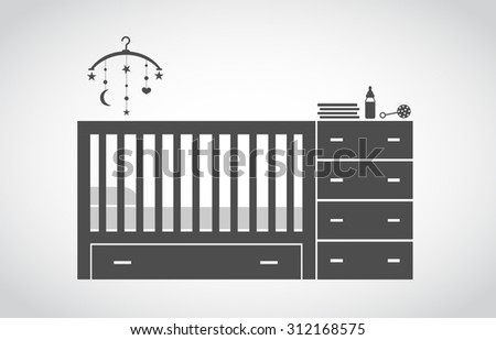 crib baby - stock vector