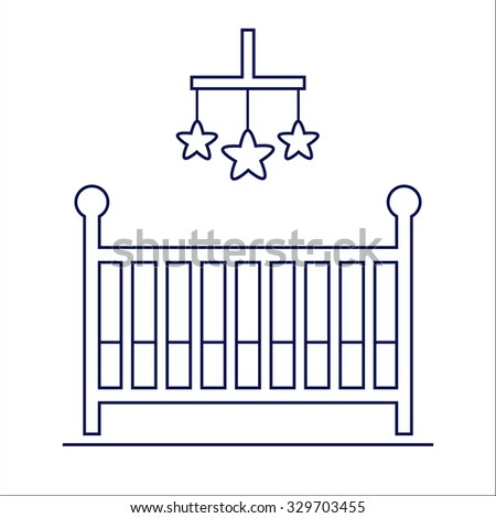 Crib isolated icon. Wooden cot on white background. Baby room furniture. Isolated furniture icon on background. Flat line style vector illustration.  - stock vector