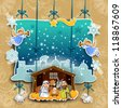 crib made of adhesive surface with a sheet decorated with collage effect - stock photo