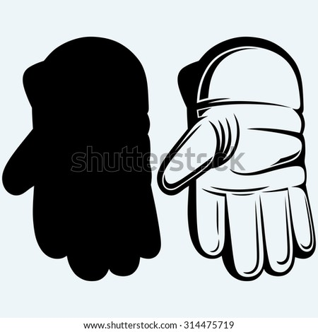 Cricket ball in a wicket keeping glove. Isolated on blue background - stock vector