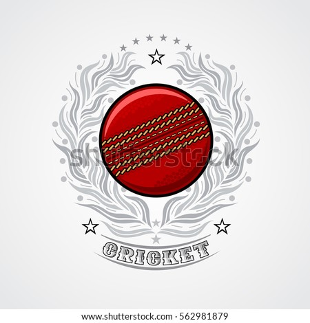 Cricket ball in center of silver wreath. Sport logo for any team or championship