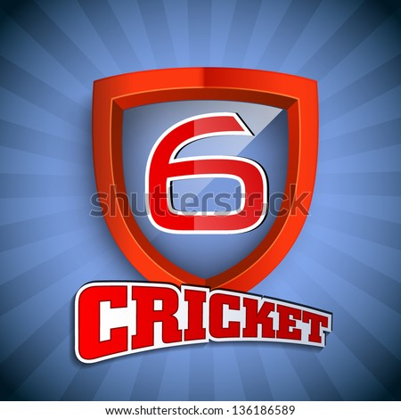 Cricket concept with winning shield having text numeric six for shots on blue rays  background - stock vector