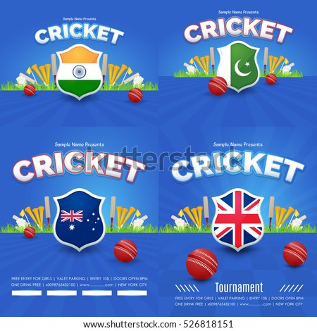 Cricket Event Poster Background, Postcard Design and Typographic Sports Ad Web Banner or Card Template, Cricketer Ball Illustration. National Theme India, Pakistan, Australia, United Kingdom Set