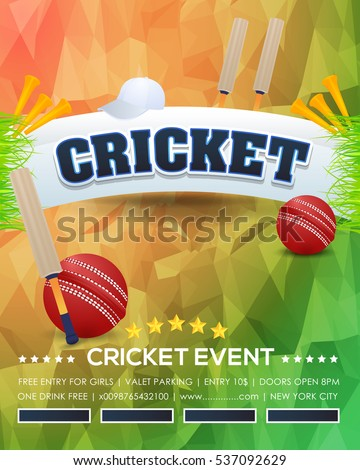 Cricket Event Poster Background, Vector Low Poly Postcard Design and Typographic Sports Ad Web Banner or Info Horizontal Card Template, Cricketer Ball, Stick and Grass Illustration