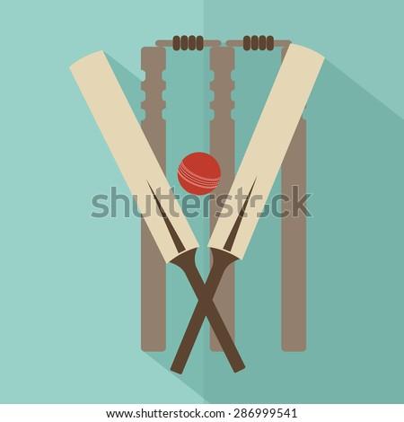 Cricket. flat vector - stock vector